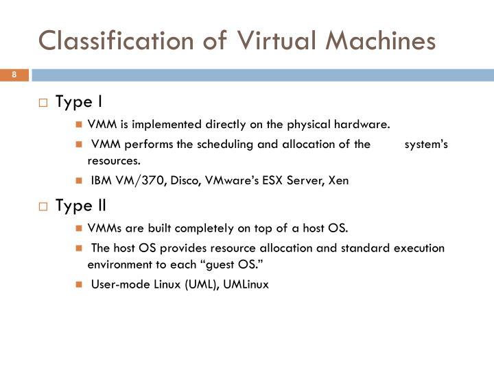 Classification of Virtual Machines