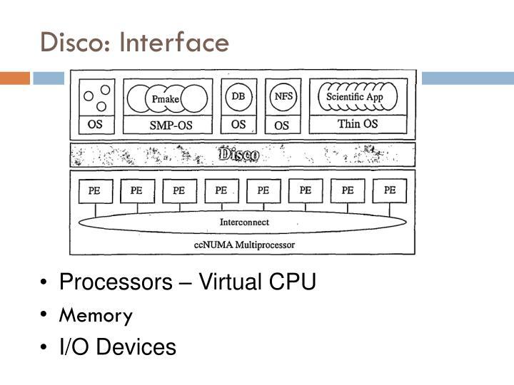 Disco: Interface