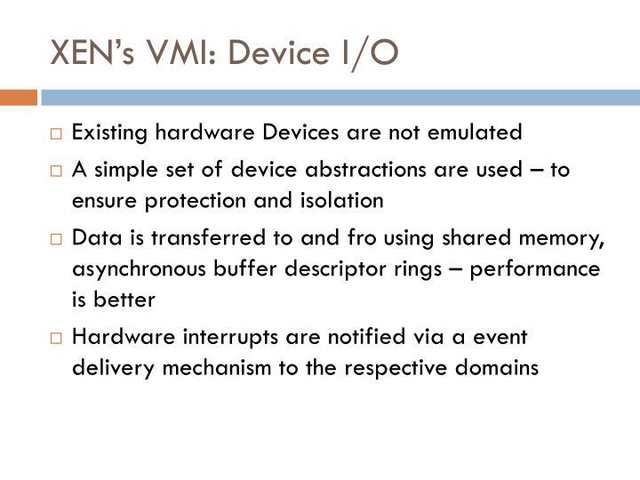 XEN's VMI: Device I/O