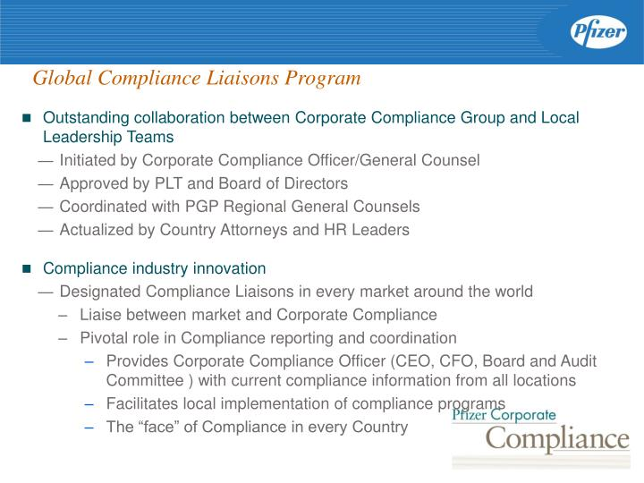Global Compliance Liaisons Program