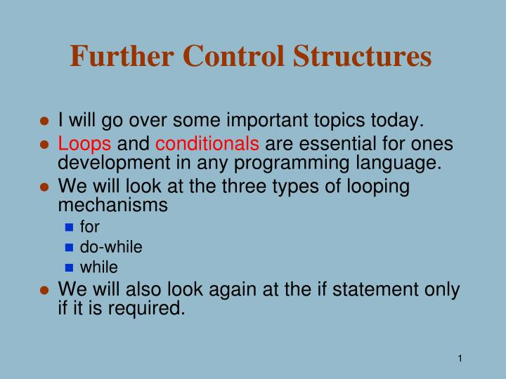 further control structures n.