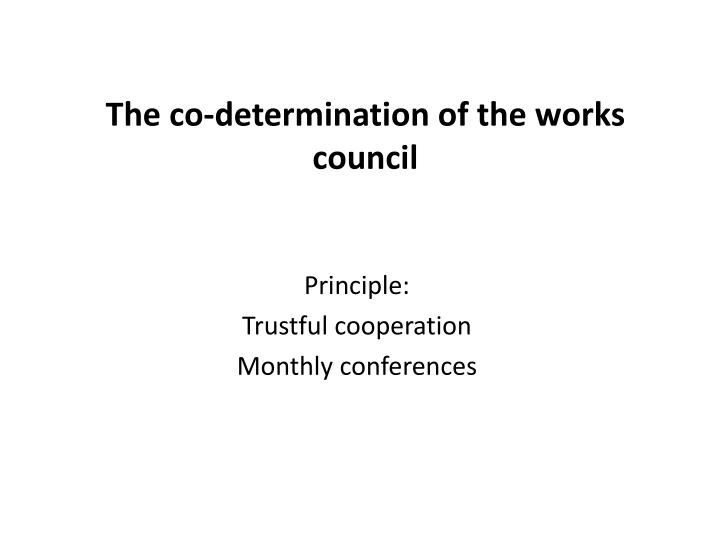 the co determination of the works council n.