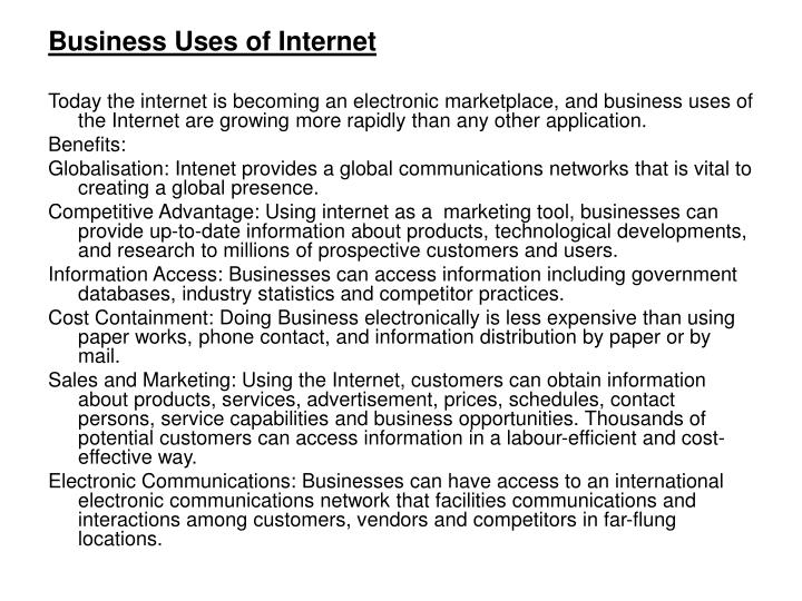 Business Uses of Internet