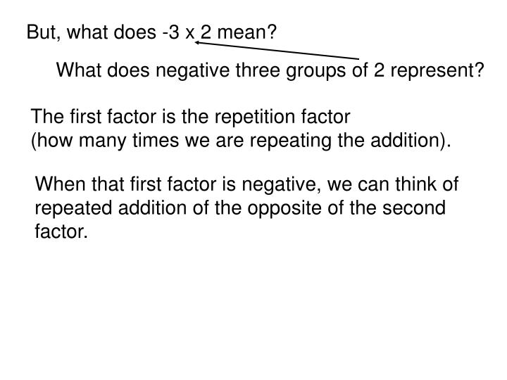 But, what does -3 x 2 mean?
