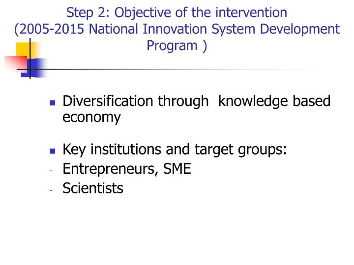 Step 2: Objective of the intervention