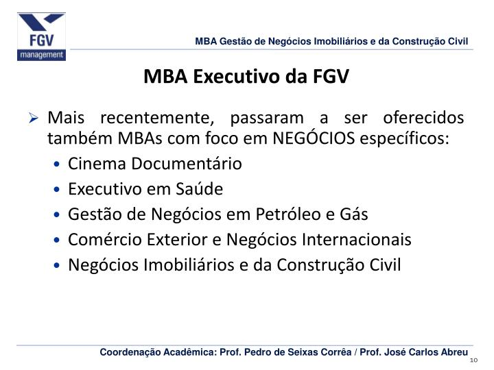 MBA Executivo da FGV