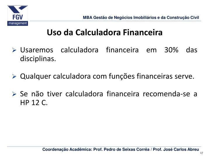 Uso da Calculadora Financeira