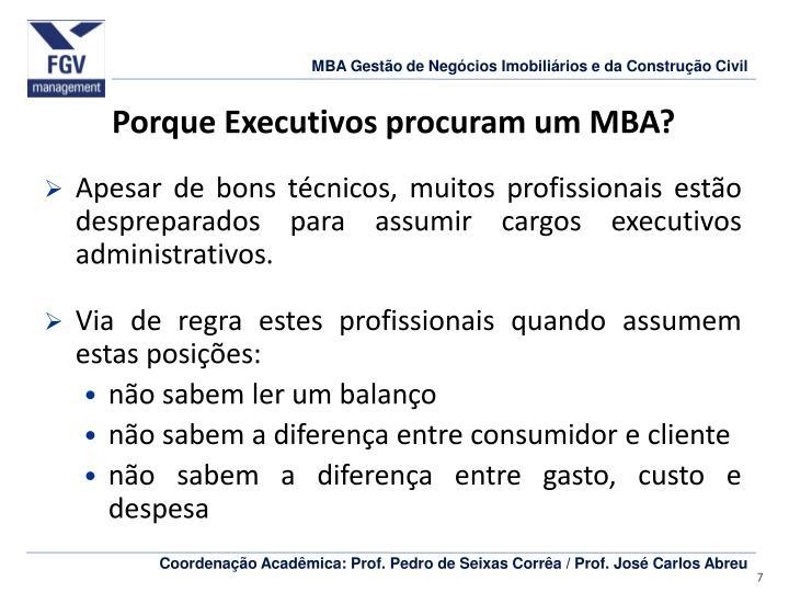 Porque Executivos procuram um MBA?