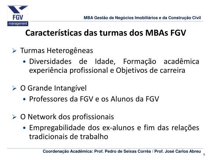 Características das turmas dos MBAs FGV