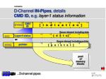 d channel in pipes details cmd id e g layer 1 status information