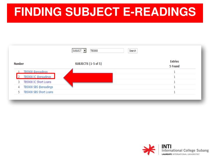FINDING SUBJECT E-READINGS
