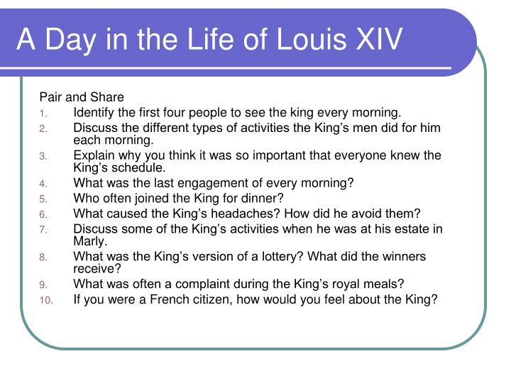a day in the life of louis xiv n.