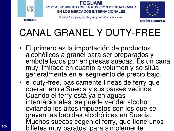 El primero es la importación de productos alcohólicos a granel para ser preparados y embotellados por empresas suecas. Es un canal muy limitado en cuanto a volumen y se sitúa generalmente en el segmento de precio bajo.