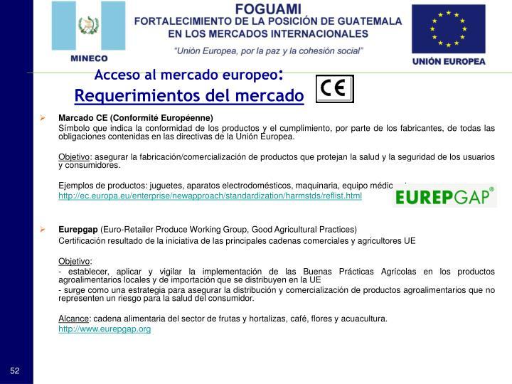 Acceso al mercado europeo