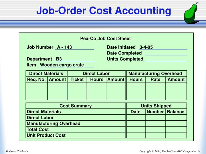 PearCo Job Cost Sheet