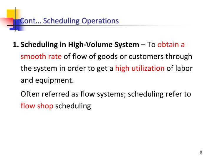 Cont… Scheduling Operations