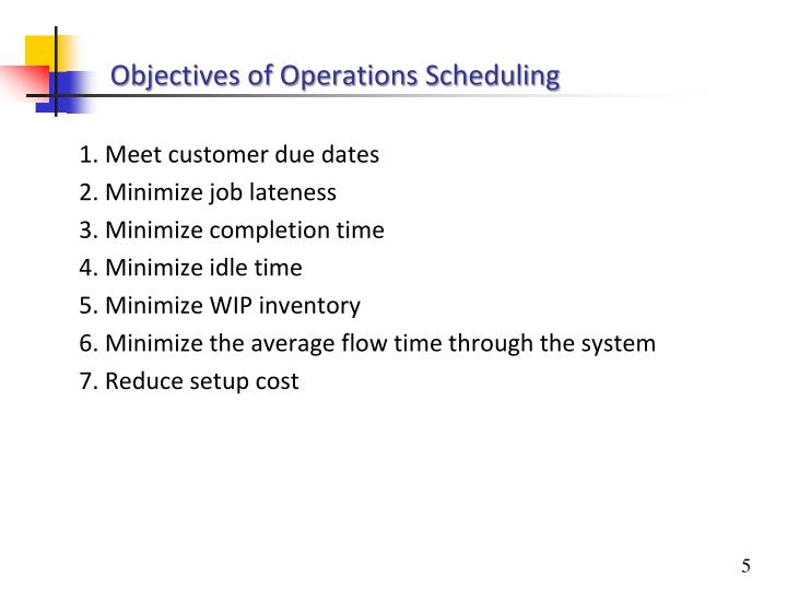 Objectives of Operations Scheduling