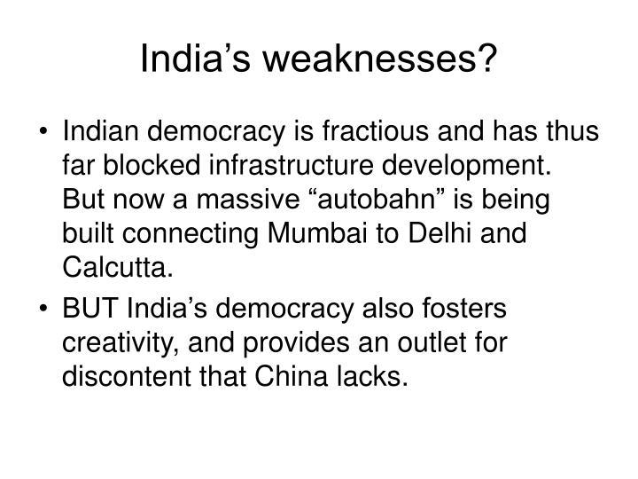India's weaknesses?