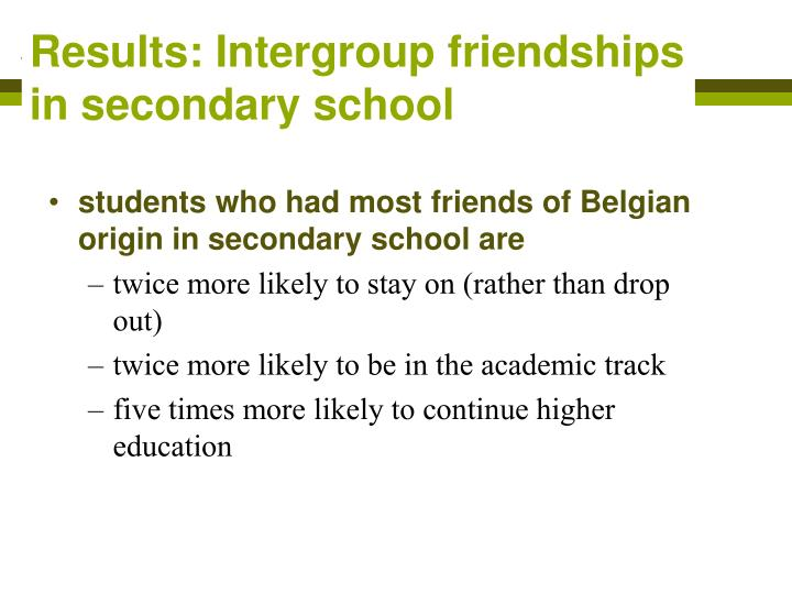 Results: Intergroup friendships in secondary school