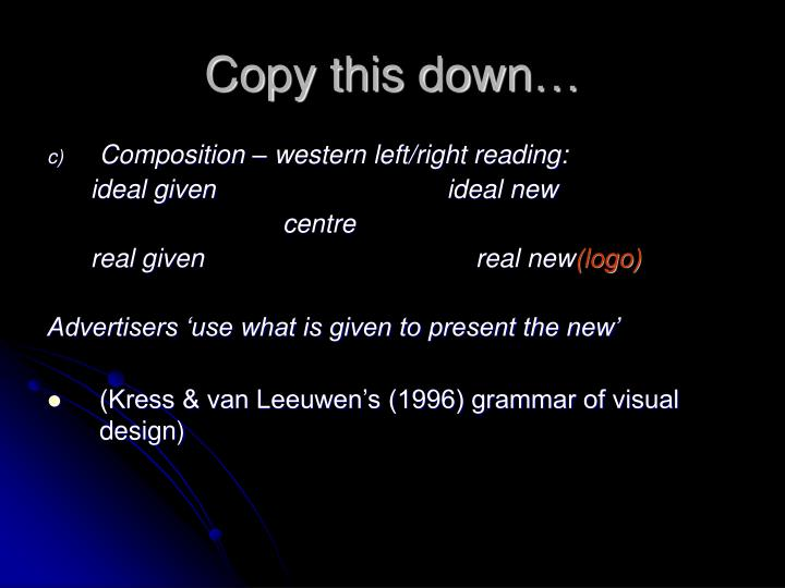 Copy this down…