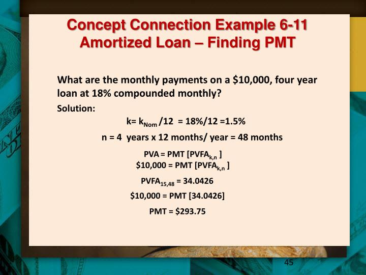 Concept Connection Example 6-11 Amortized Loan – Finding PMT