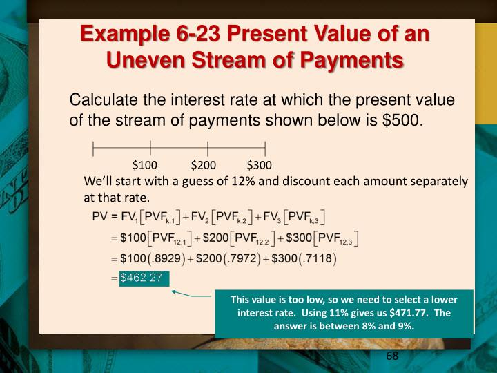 Example 6-23 Present Value of an Uneven Stream of Payments