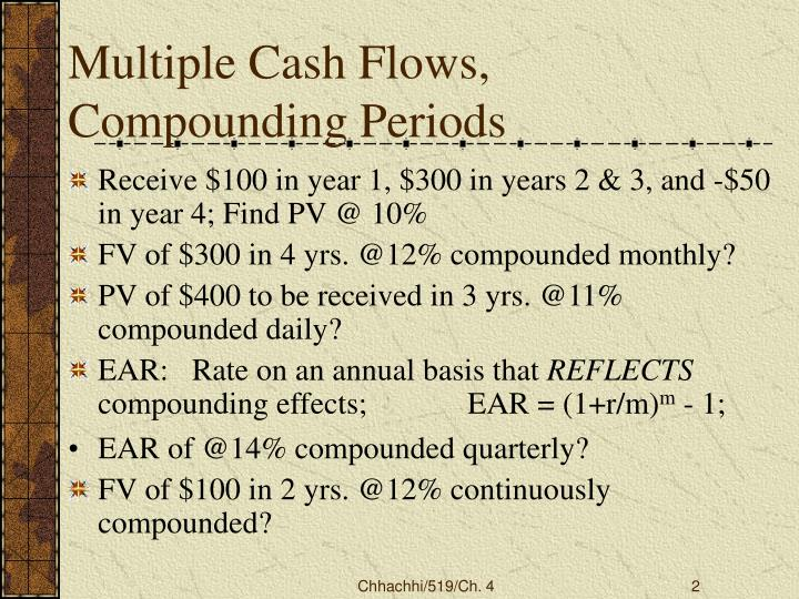 Multiple cash flows compounding periods