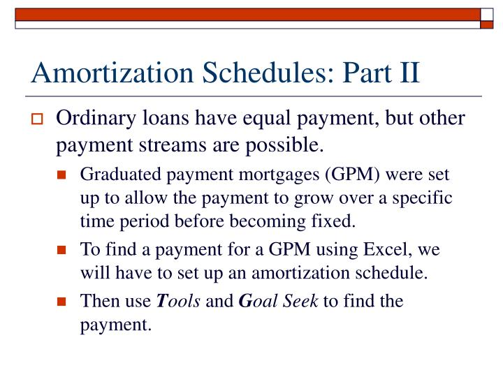 Amortization Schedules: Part II