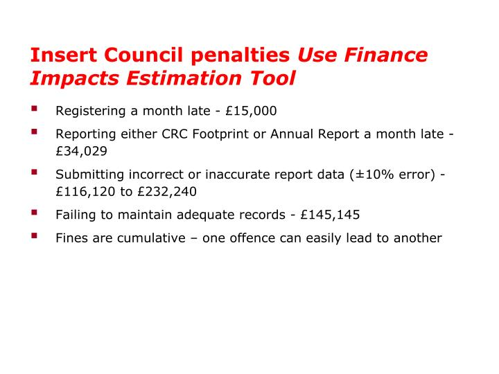 Insert Council penalties