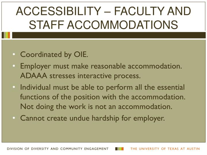 Accessibility – Faculty and Staff