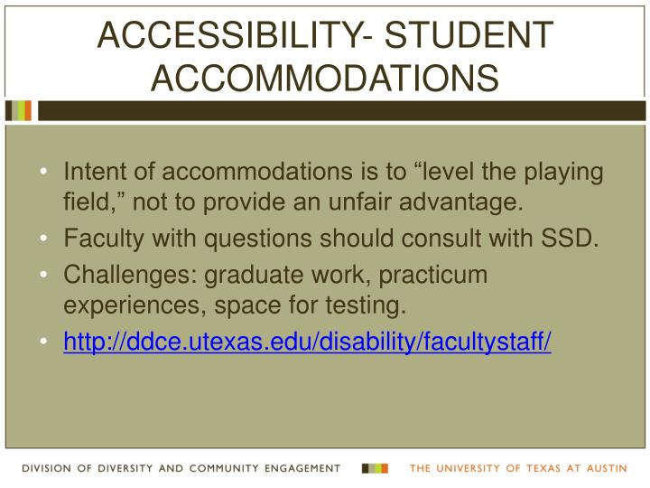 ACCESSIBILITY- STUDENT ACCOMMODATIONS