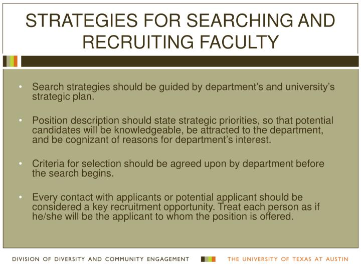 Strategies for Searching and Recruiting Faculty