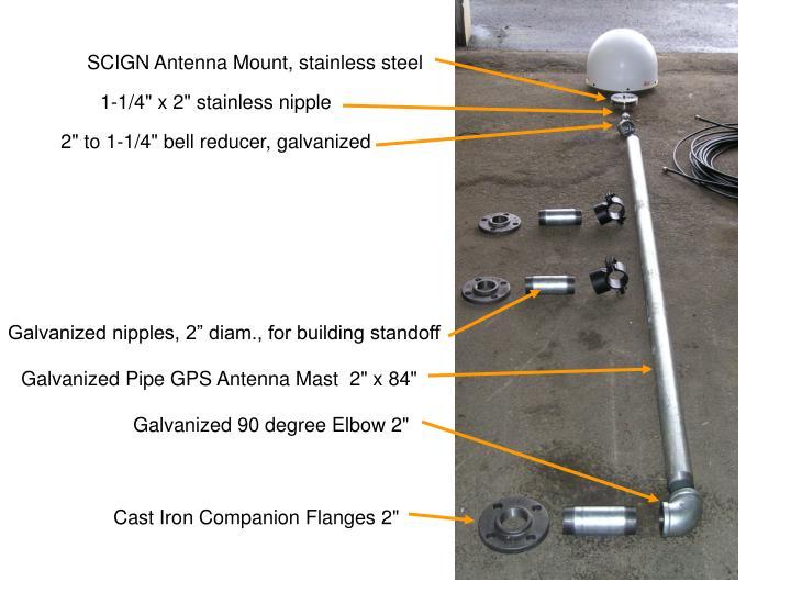 SCIGN Antenna Mount, stainless steel