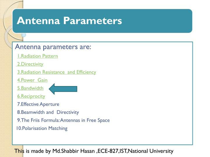 Antenna parameters are: