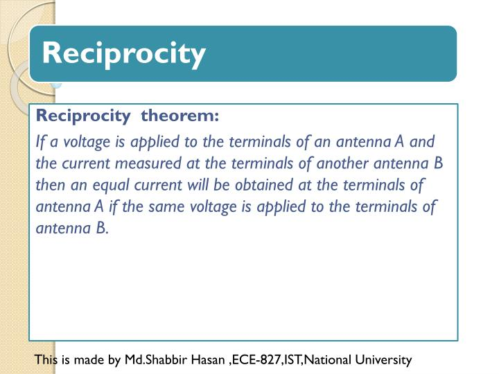 Reciprocity  theorem: