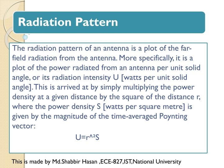 The radiation pattern of an antenna is a plot of the far-field radiation from the antenna. More specifically, it is a plot of the power radiated from an antenna per unit solid angle, or its radiation intensity U [watts per unit solid angle]. This is arrived at by simply multiplying the power density at a given distance by the square of the distance r, where the power density S [watts per square