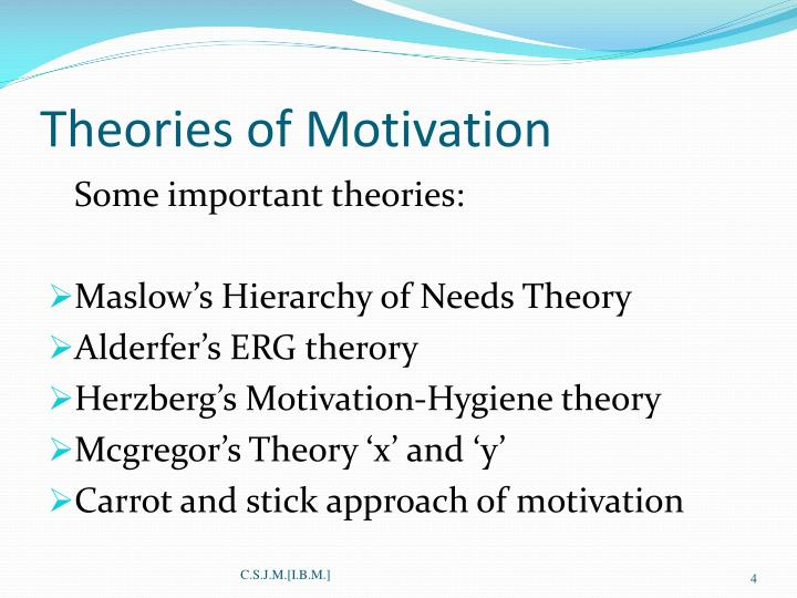maslows four theories of motivation What motivates human behavior the maslow's hierarchy of needs is one of the best-known theories of motivation maslow first introduced his concept of a hierarchy of needs in his 1943 paper a theory of human motivation and his subsequent book motivation and personality.