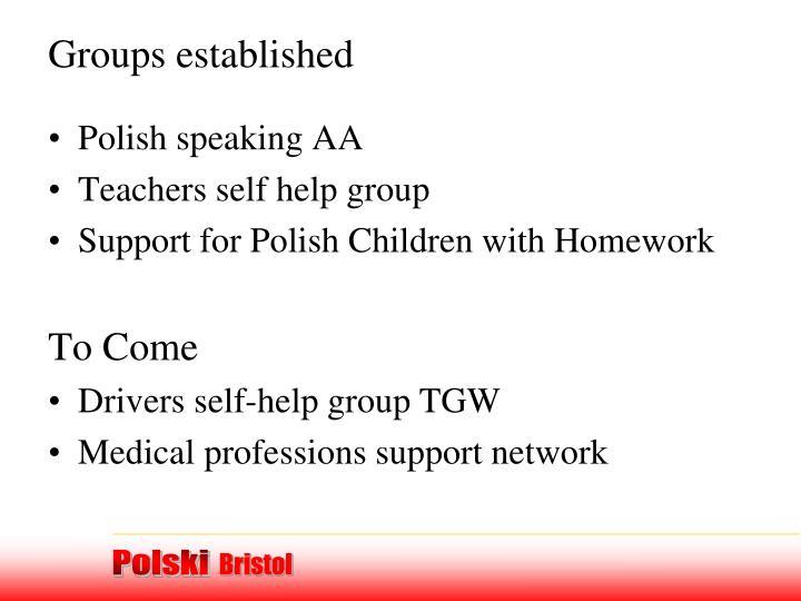Groups established