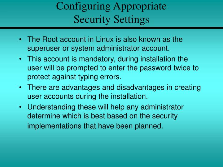 Configuring Appropriate