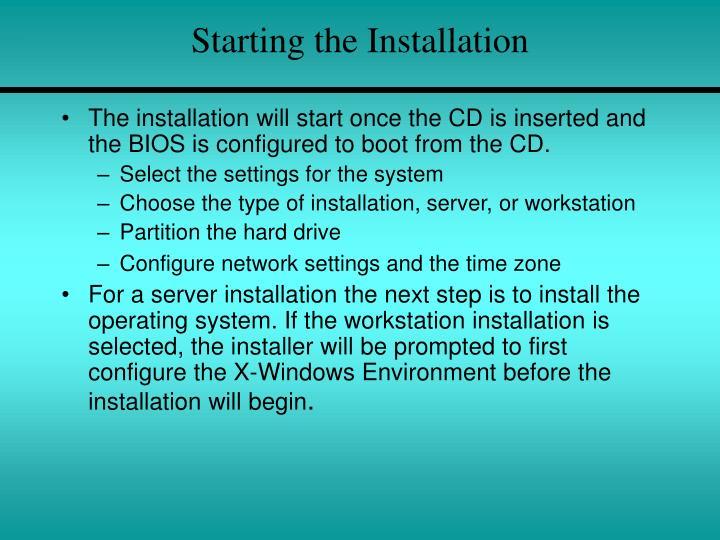 Starting the Installation