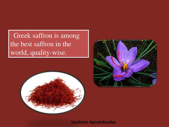 Greek saffron is among the best saffron in the world, quality-wise.