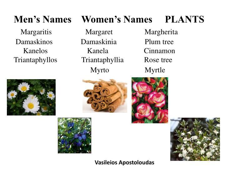 Men's Names    Women's Names     PLANTS