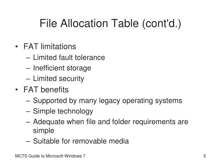 File Allocation Table (cont'd.)