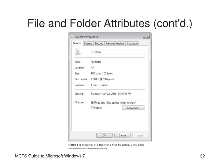 File and Folder Attributes (cont'd.)