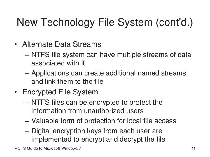 New Technology File System (cont'd.)