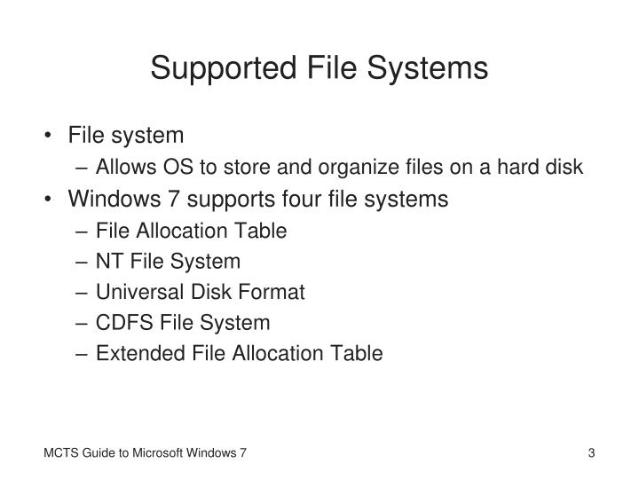 Supported file systems