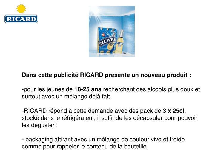 Dans cette publicité RICARD présente un nouveau produit :