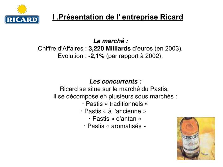 I .Présentation de l' entreprise Ricard