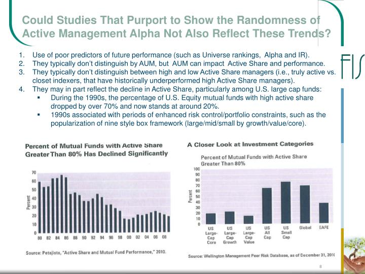 Could Studies That Purport to Show the Randomness of Active Management Alpha Not Also Reflect These Trends?
