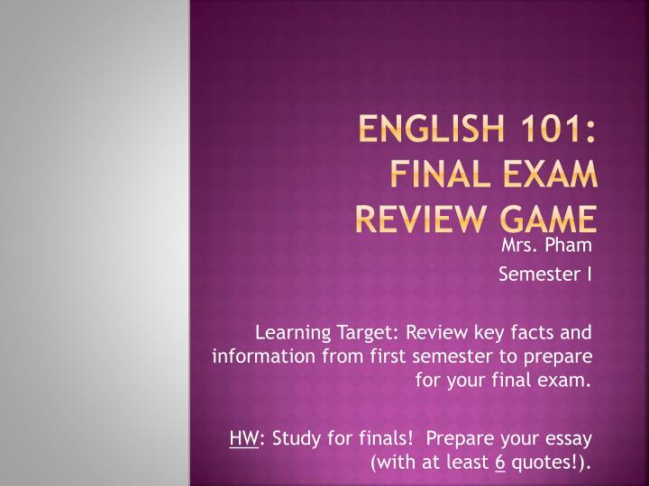 english 101 final exam review game n.